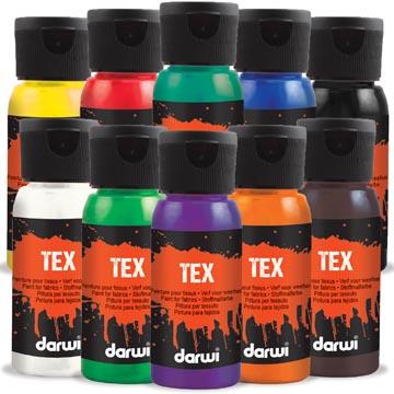 Darwi peinture textile Tex, 250 ml, étui de 10 pièces en couleurs assorties
