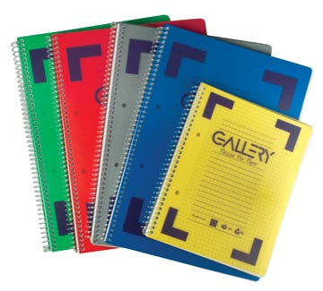 Gallery cahier à reliure spirale Traditional A5, 2 trous, quadrillé 5 mm, couleurs assorties, 160 pages
