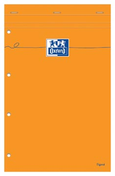 Oxford Orange Pads bloc-notes, ft A4+, ligné, 160 feuilles, perforation 4 trous