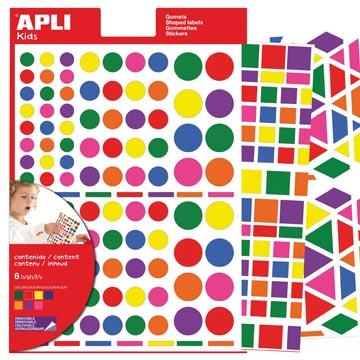 Apli Kids gommettes enlevables, formes, couleurs et formats assortis, pochette de 664 pièces