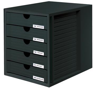 Han bloc à tiroirs avec tiroirs fermés, noir