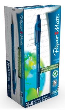Paper Mate stylo bille Flexgrip Ultra RT, bleu, boîte 30 + 6 pièces gratuit