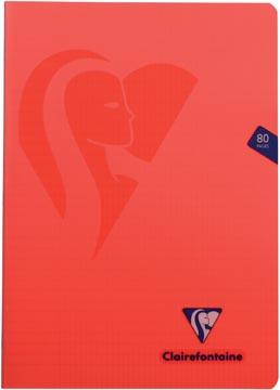 Clairefontaine cahier mimesys pour ft A4, 80 pages, couverture en PP, quadrillé 4 x 8, couleurs assorties