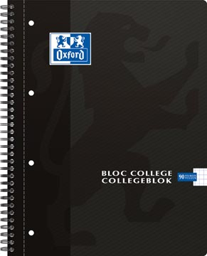 Oxford School bloc collège, ft A4, 180 pages, 4 trous, quadrillé 5mm, noir