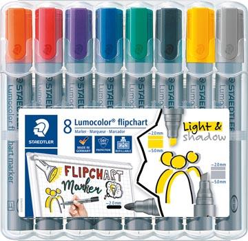 Marqueur pour tableaux de conférence Lumocolor, 8 pièces en couleurs assorties