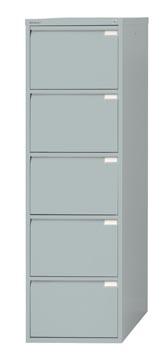Bisley classeur dossiers, ft 151 x 47 x 62,2 mm (h x l x p), 5 tiroirs, argenté