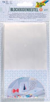 Folia sac en papier, 100 x 55 x 175 mm, paquet de 15 pièces, blanc