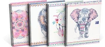 Oxford Boho Chic cahier spiralé, ft A4+, 120 pages, quadrillé 5 mm, couleurs assorties