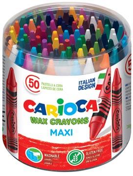 Carioca craie à la cire Wax Maxi, pot de 50 pièces en couleurs assorties