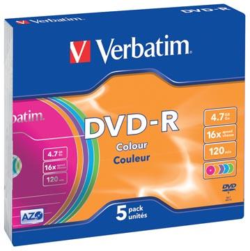 Verbatim DVD enregistrable DVD-R, boîte de 5 pièces, emballées individuellement (Slim Case)
