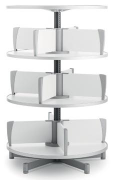 Moll colonne rotative Multifile, 3 étages, hauteur 124 cm, jusq'à 72 classeurs, blanc