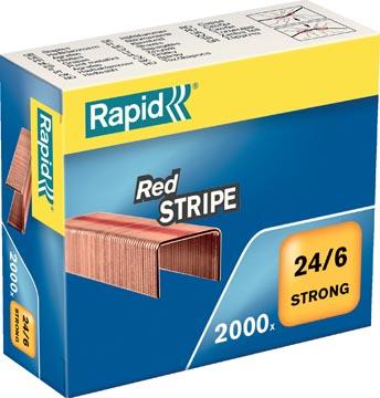 Rapid Agrafes 24/6, Red Stripe, cuivrées, boîte de 2.000 agrafes