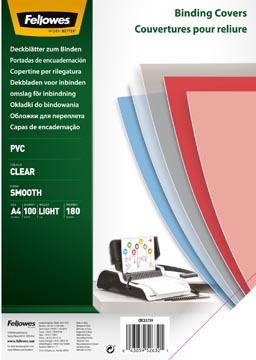 Fellowes couvertures ft A4, 180 microns, paquet de 100 pièces