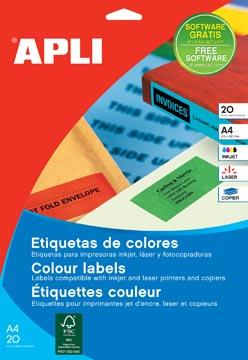 Apli étiquettes colorées ft 70 x 37 mm (l x h), bleu, 480 pièces, 24 par feuille (1592)