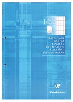 Clairefontaine bloc de cours, quadrillé, 5 mm, avec marge