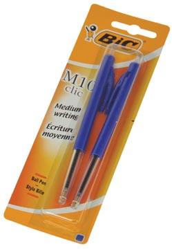 Bic stylo bille M10 Clic sous blister, pointe moyenne, bleu