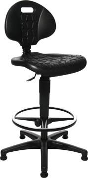 Topstar tabouret Tec 20, avec anneau repose-pieds chromé, avec patins, noir