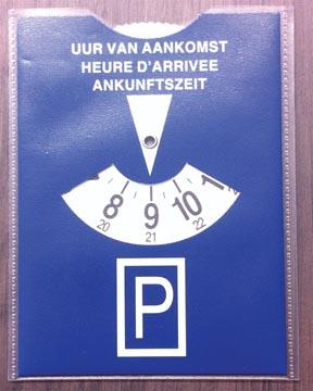 Disque de stationnement dans etui transparent, bleu