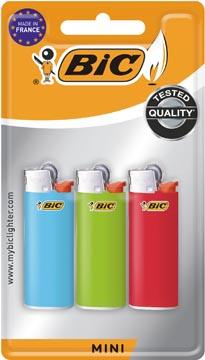 BIC Mini briquets à pierre, couleurs assorties, blister de 3 pièces