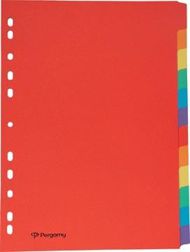 Pergamy intercalaires, ft A4, en carton, 12 onglets, 11 trous, en couleurs assorties