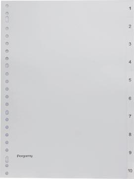 Pergamy intercalaires, ft A4, perforation 23 trous, PP gris, set 1-10
