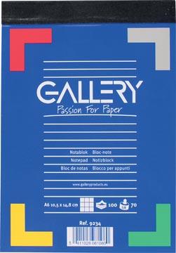 Gallery carnet de notes, ft A6, quadrillé 5 mm, bloc de 100 feuilles