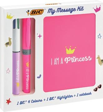 Bic Message Kit Princess, stylo bille 4 colours, surligneur highlighter et carnet de notes ft A6