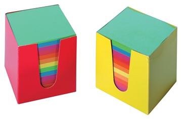 Cube-mémo en carton, feuillets en couleurs assorties