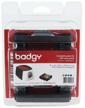 Paquet de 1 x ruban couleur et 100 cartes vierges de 0,76 mm pour Badgy100 et Badgy200