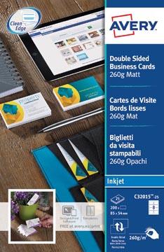 AVERY cartes de visite Quick&Clean mat, 200 cartes, 260 g/m²