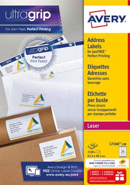 Avery L7160, Etiquettes adresses, Laser, Ultragrip, blanches, 100 pages, 21 per page, 63,5 x 38,1 mm