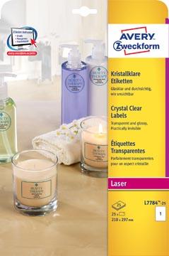Avery étiquettes transparentes Crystal Clear ft 210 x 297 mm, 25 étiquettes, 1 par feuille