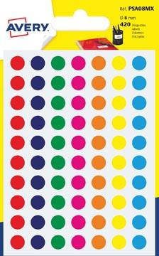 Avery PSA08MX etiquettes pastilles rondes, diamètre 8 mm, blister de 420 pièces, couleurs assorties