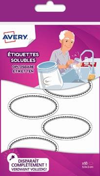 Avery Family étiqettes solubles ovales, ft 5,5 x 3 cm, sachet brochable avec 18 étiquettes