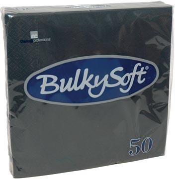 Bulkysoft serviettes 2-plis, noir, paquet de 50 serviettes