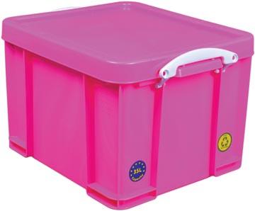 Really Useful Box boîte de rangement 35 litre, rose néon avec poignées blanches