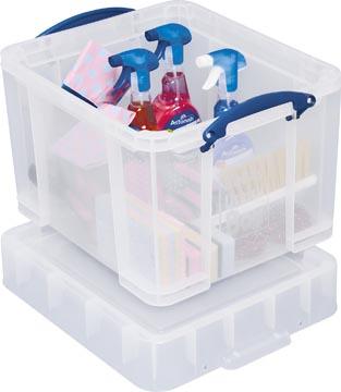 Really Useful Box boîte de rangement 35 l, couvercle XL, transparent