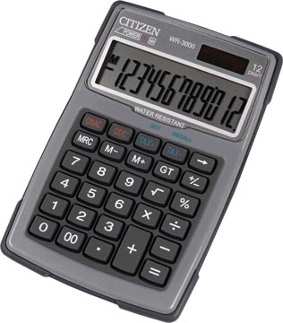 Citizen calculatrice robuste, Imperméable à l'eau et à la poussière, gris